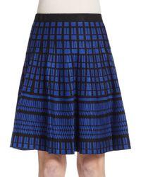 Saks Fifth Avenue Black Label | Blue Flared Geo-pattern Knit Skirt | Lyst
