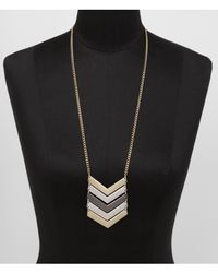 Express | Metallic Linked Mixed Metal Chevron Necklace | Lyst