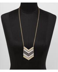 Express - Metallic Linked Mixed Metal Chevron Necklace - Lyst