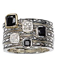 Lord & Taylor | Black Sterling Silver Onyx And Diamond Ring | Lyst