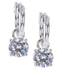 Anne Klein | Metallic Crystal Drop Hoop Earrings | Lyst
