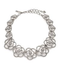 Oscar de la Renta | Metallic Pavé Crystal Flower Cutout Necklace | Lyst