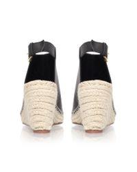 KG by Kurt Geiger Black Nelly Mid Heel Espadrille Wedge Sandals