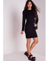 Missguided | Petite Long Sleeve Jersey Bodycon Dress Black | Lyst