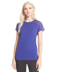 Ted Baker | Blue Mesh Sleeve Jersey Top | Lyst