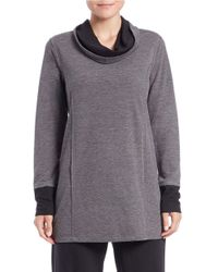 Lord & Taylor Gray Contrast-detail Cowl-neck Pullover