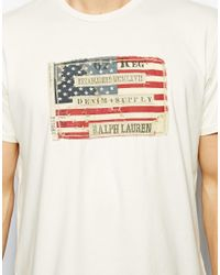 Ralph Lauren White Denim Supply Ralph Lauren Tshirt with American Flag for men