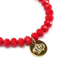 Juicy Couture | Red Crown Coin Beaded Bracelet | Lyst