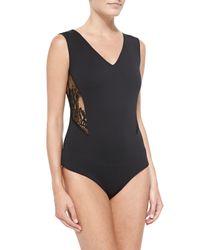 Valentina Shah - Blue Lace-Inset Bodysuit - Lyst