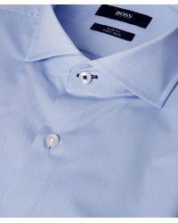BOSS - Blue Slim Fit Jery Trimmed Shirt for Men - Lyst