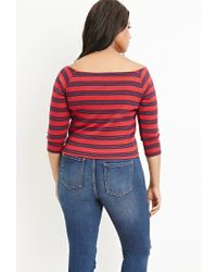 Forever 21 | Red Striped Off-the-shoulder Top | Lyst