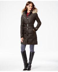 RACHEL Rachel Roy Green Faux-fur-hood Belted Puffer Coat