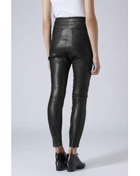 78dd9cb812fcc Lyst - TOPSHOP Leather-look Skinny Biker Trousers in Black