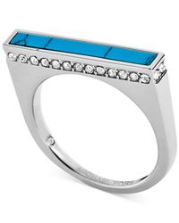 Michael Kors Blue Silver-Tone Turquoise Inlay Bar Ring