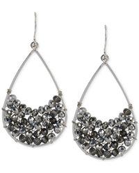 Kenneth Cole - Silver-tone Woven Black Bead Teardrop Earrings - Lyst