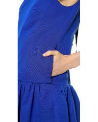 Tibi Sleeveless Flirty Dress Electric Blue