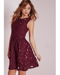 Missguided Red Sleeveless Lace Skater Dress Plum