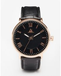 ASOS | Metallic Watch With Roman Numerals In Black And Rose Gold for Men | Lyst