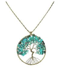 Aeravida - Blue Turquoise Stone Eternal Tree Of Life Brass Long Necklace - Lyst
