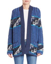 Free People | Blue Knit Cardigan | Lyst