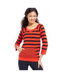 Jones New York | Red Signature Petite Striped Kangaroopocket Sweatshirt | Lyst