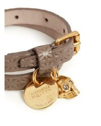 Alexander McQueen - Brown Skull Charm Double Wrap Embossed Leather Bracelet - Lyst