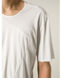 Lost & Found - White Panelled Raw Seam T-Shirt for Men - Lyst