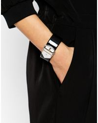 Karen Millen | Black Acetate Wide Buckle Cuff | Lyst