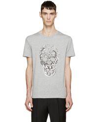 Alexander McQueen | Gray Grey Bird Skull T-shirt for Men | Lyst
