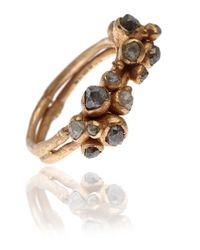 Ruth Tomlinson Metallic Gold Double Cluster Diamond Ring