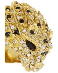 Saint Laurent - Metallic Lion Goldtone Crystal Ring - Lyst