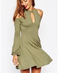 ASOS   Pink Skater Dress With Cold Shoulder And Keyhole Cutout   Lyst
