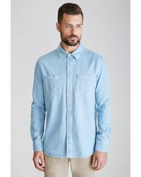 Forever 21 | Blue Denim Button-down Shirt for Men | Lyst