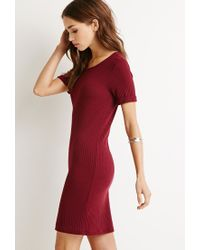 Forever 21 | Purple Ribbed Knit Bodycon Dress | Lyst
