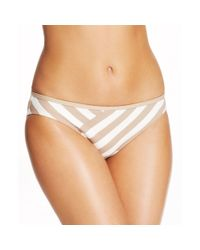 DKNY | Brown Striped Bikini Bottom | Lyst