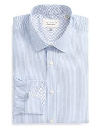 Ted Baker | Blue 'harker' Trim Fit Dobby Stripe Dress Shirt for Men | Lyst