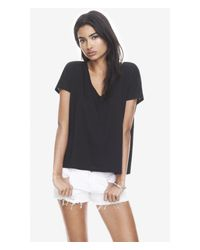 Express Black One Eleven Slash Back V-Neck Tee