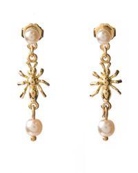 Tom Binns Metallic Spider and Pearl Earrings