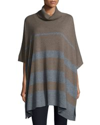 Neiman Marcus - Brown Cowl-neck Striped Cashmere Poncho - Lyst