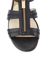 MICHAEL Michael Kors   Black Berkley Leather Flat Sandals   Lyst