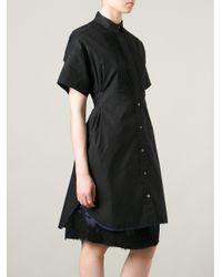 Sacai - Black Layered Boxy Shirt Dress - Lyst