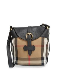 Burberry Black 'Small Sycamore' Check & Leather Crossbody Bag