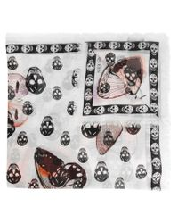Alexander McQueen - White Skull And Butterfly Print Scarf - Lyst