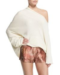 The Row Natural Nandac Off-the-shoulder Oversized Top