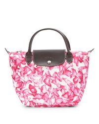 Longchamp Pink Darshan Floral Small Tote Bag