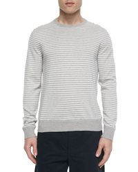 Rag & Bone | Gray Frederic Striped Woven Crewneck Sweater for Men | Lyst