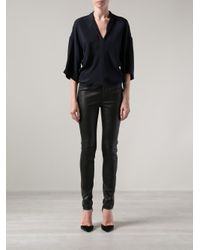 Adam Lippes - Black Leather Side Zip Jeans - Lyst