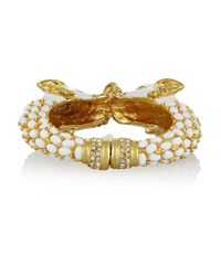 Kenneth Jay Lane | Metallic Enameled Gold-Tone Elephant Bracelet | Lyst