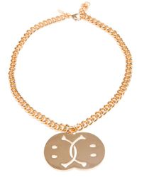 Moschino | Metallic Smiley Face Necklace | Lyst