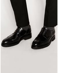 SELECTED | Black Leather Brogue Shoes for Men | Lyst